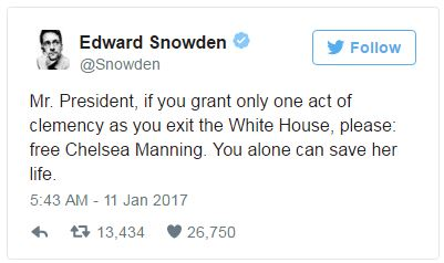 Mr. President, if you grant only one act of clemency as you exit the white house, please free Chelsea Manning. You alone can save her life.